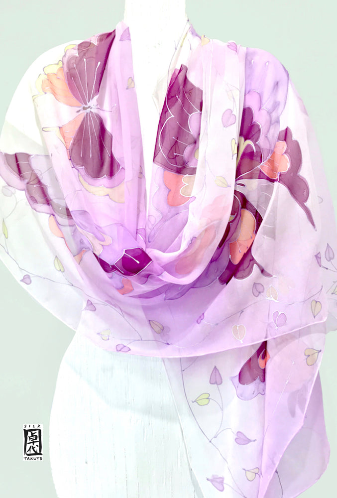 Silk Evening Shawl Lavender, Purple Kimono Butterfly