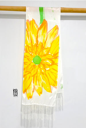 Silk Fringe Scarf, Yellow Daisy