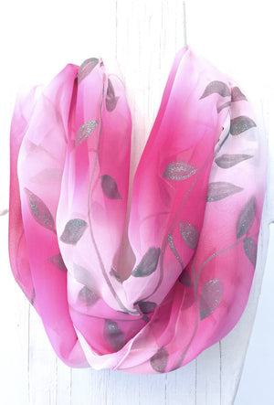 Silk Infinity Scarf, Pink Ombre Silver Vine