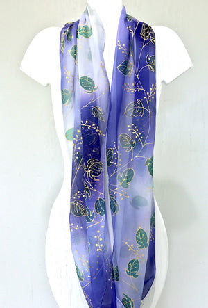 Silk Loop Scarf, Blue Ombre Gold Vine