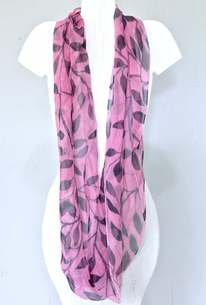 Silk Loop Scarf Pink and Navy Vines