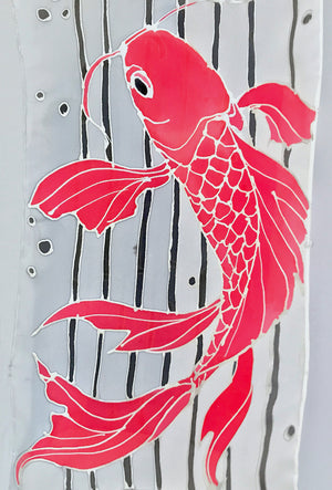 Silk Crepe Scarf Blue, Red Koi fish