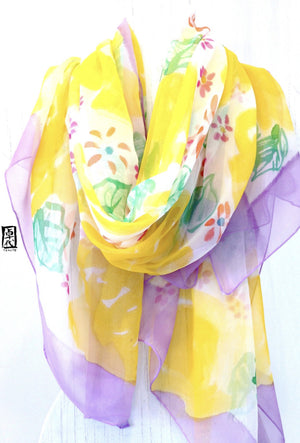 Silk Sarong Shawl, Yellow Rose Garden Party