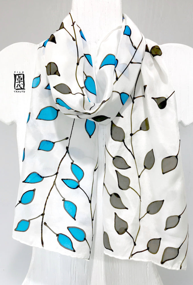 Silk Scarf, Blue and Black Vine