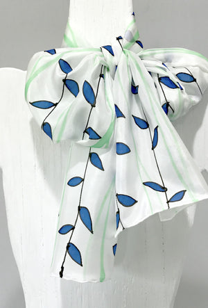 Silk Scarf, Blue and Green Vines