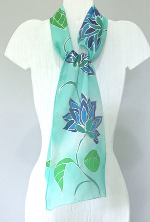 Silk Scarf, Mint Green & Blue Ombre Floral