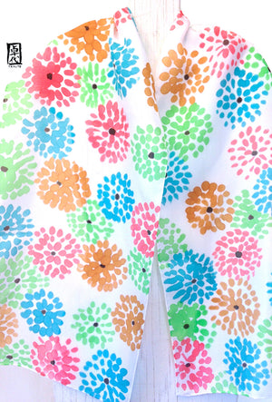 Silk Scarf, Mum Flowers in Mint, Pink, Blue