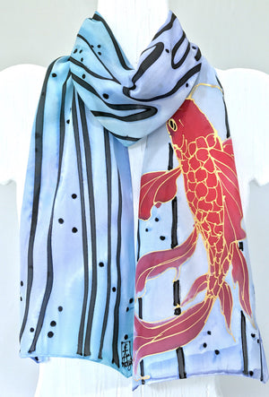Silk Scarf, Red Koi in Blue Current
