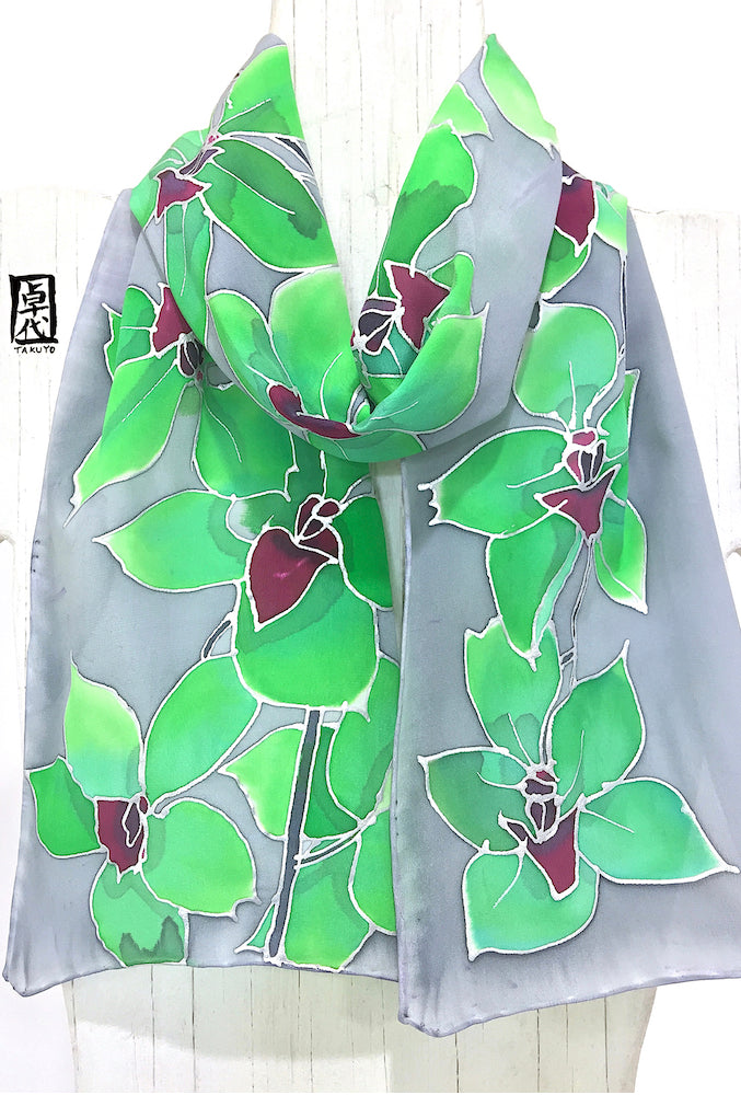 Silk Scarf, Tropical Orchids in Green