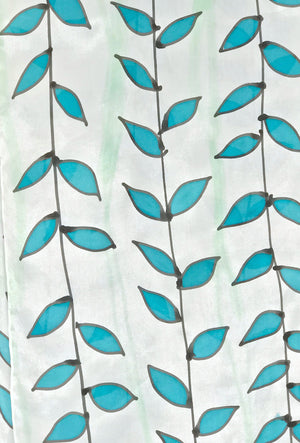 Silk Scarf, Turquoise Blue and Black Vine