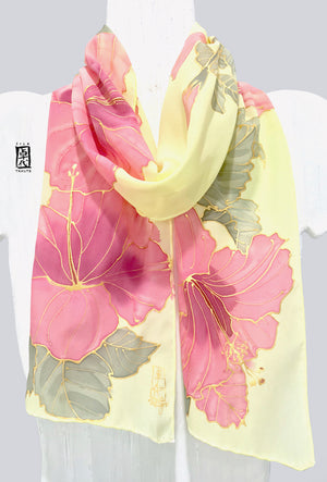 Silk Scarf in Pastel Yellow, Pink Hawaiian Hibiscus