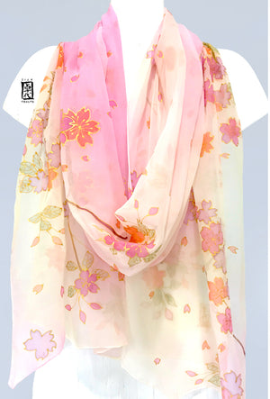 Silk Shawl, Spring Cherry Blossoms in Pastel Pink