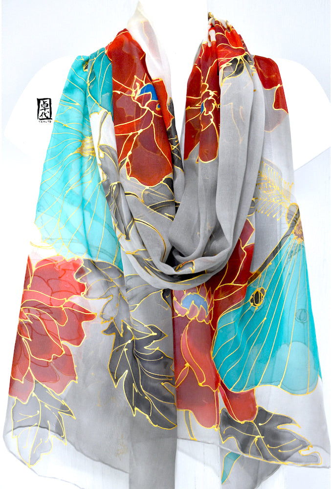 Silk Shawl Gray, Luna Moth in Moonlight, Red Peony