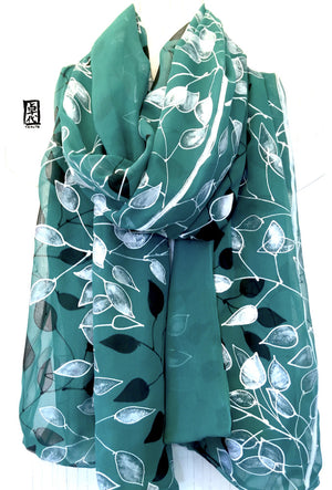 Silk Shawl Green, Black and Silver Vines