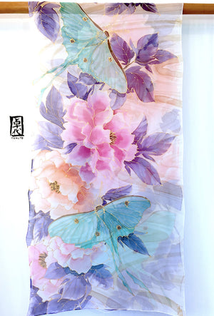 Silk Shawl, Luna Moths and Midnight Peony