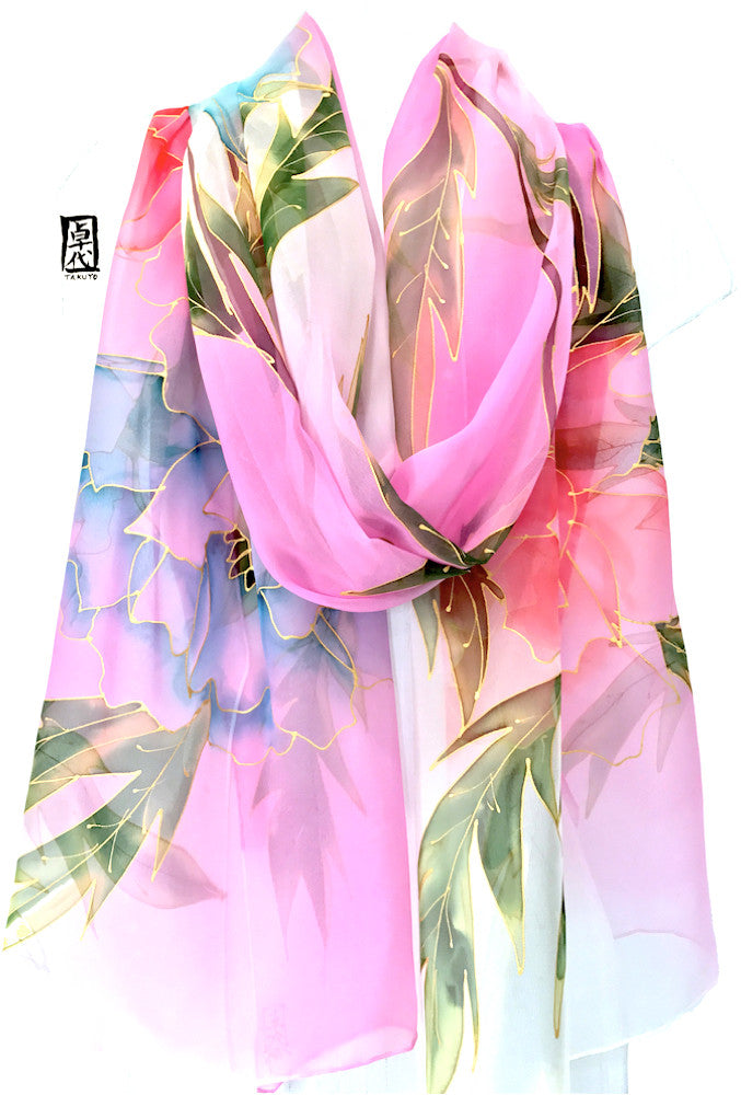 Silk Shawl, Pink and Blue Peony