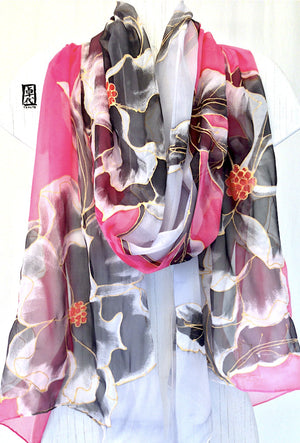 Silk Shawl Pink and Gray, Black Geisha Peony