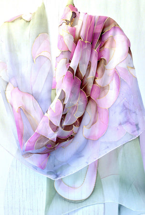 Silk Shawl, Pink and Green Chrysanthemum