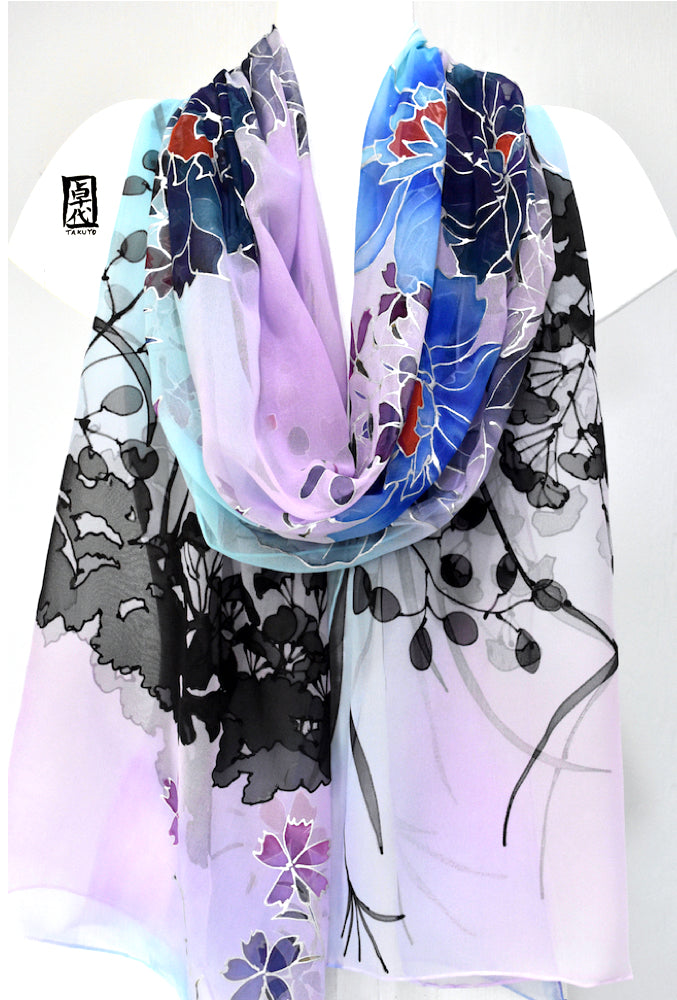 Silk Shawl Scarf Blue, Peonies at Twilight