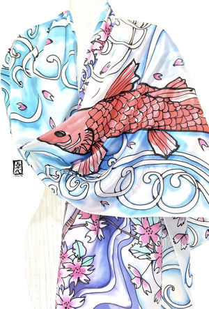 Silk Shawl, White, Red Koi