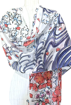 Silk Shawl, White Sakura Wave