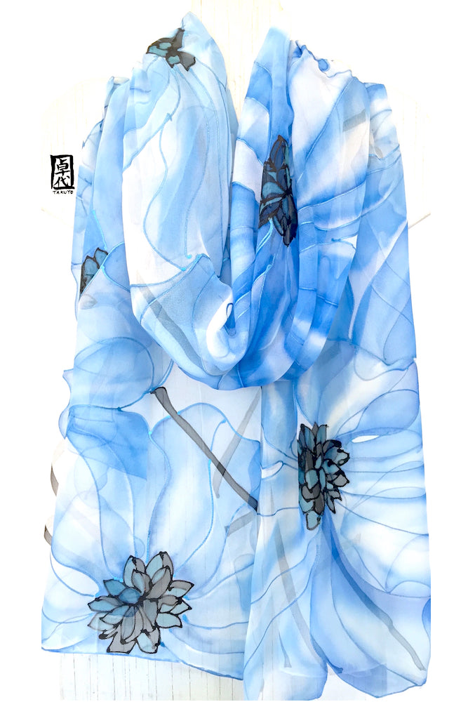 Silk Shawl Wrap Blue, Ethreal Poppy