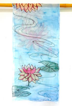 Silk Shawl Wrap Blue, Serenity Pink Lotus