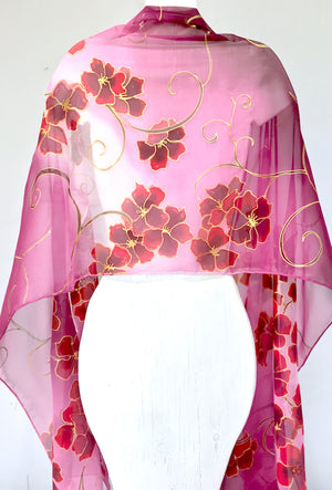 Silk Shawl Wrap, Cascading Evening Primrose