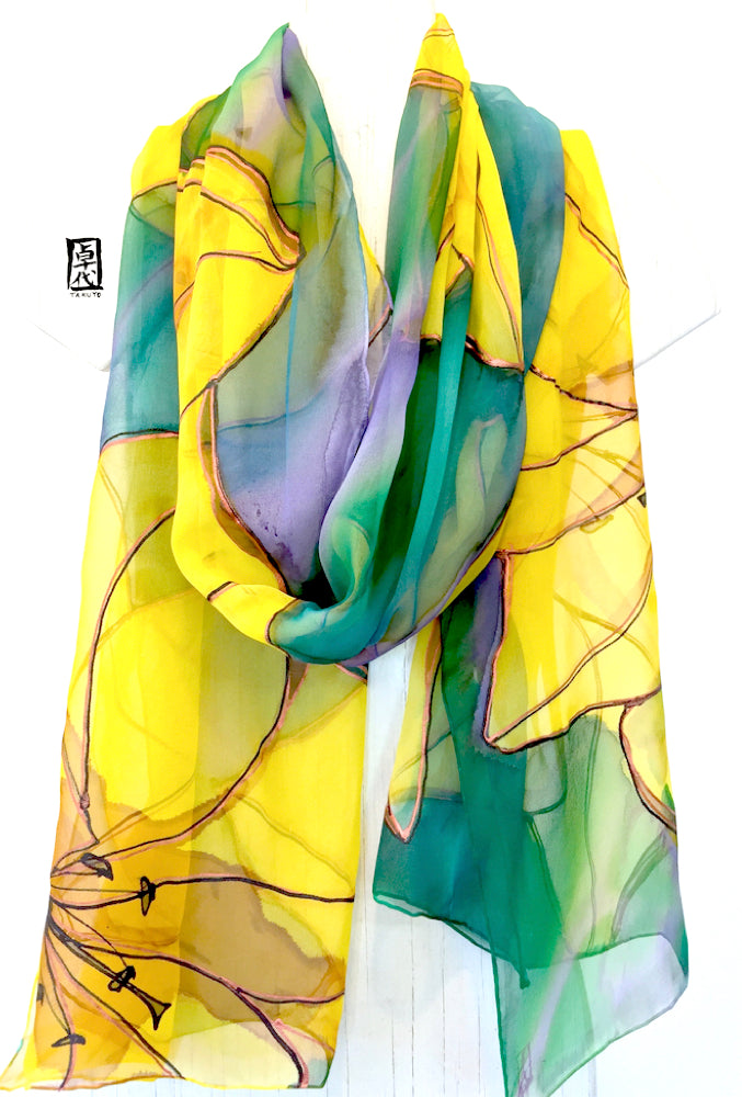 Silk Shawl Wrap Green, Yellow Lily