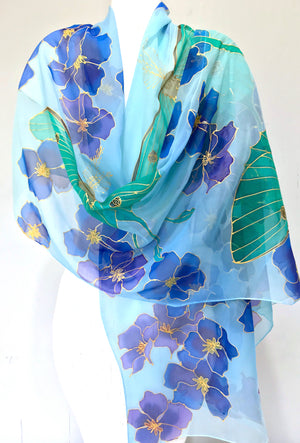 Silk Shawl Wrap, Luna Moth and Blue Evening Primrose
