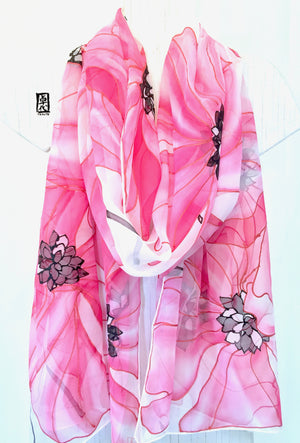 Silk Shawl Wrap Pink, Ethreal Poppy