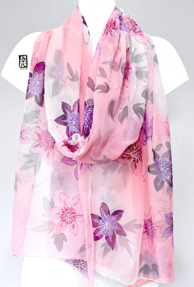 Silk Shawl Wrap, Pink Morning Clematis Vine