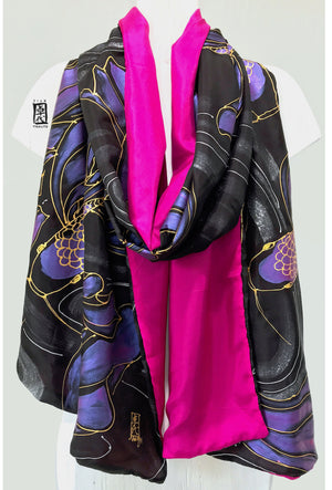 Silk Shawl Wrap, Pink and Gold Koi