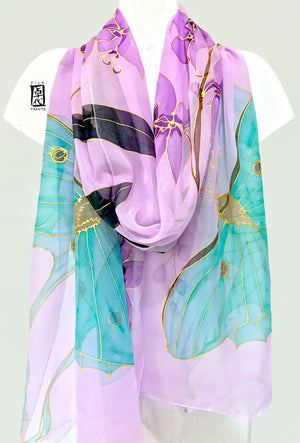 Silk Shawl Wrap, Purple Orchid and Luna Moth