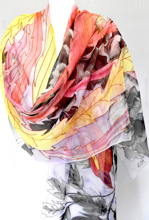 Silk Shawl Wrap, Red Sunrise Phoenix and Black Peony
