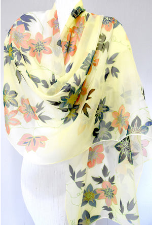 Silk Shawl Wrap, Yellow Ombre Clematis Flowers