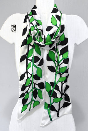 Silk Skinny Scarf Green and Black Vines