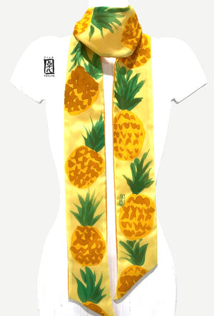 Silky Skinny Scarf, Yellow Pineapple Party