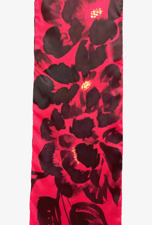 Skinny Long Reversible Charmeuse Scarf, Black Geisha Peony in Red