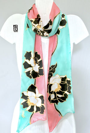 Skinny Long Scarf, Pink and Mint Geisha