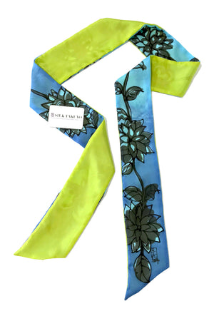 Skinny Scarf, Blue and Chartreuse Kimono Floral