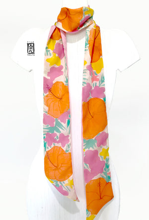 Skinny Scarf, Orange Hibiscus Party