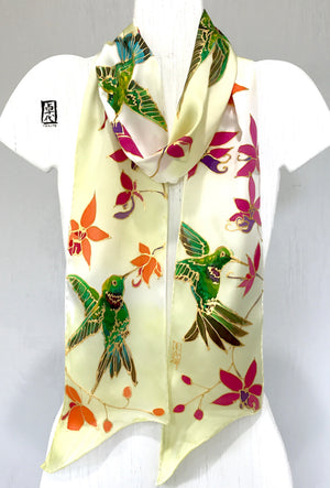 Skinny Scarf, Paradise Pink Orchid and Hummingbirds