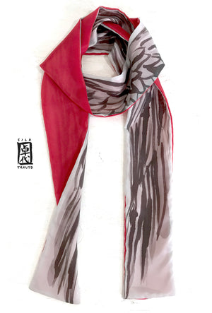 Skinny Scarf, Red and Gray Wing Scarf