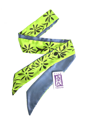 Skinny Silk Scarf, Chartreuse Green Sumi Wildflowers