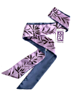 Skinny Silk Scarf, Purple Sumi Wildflowers