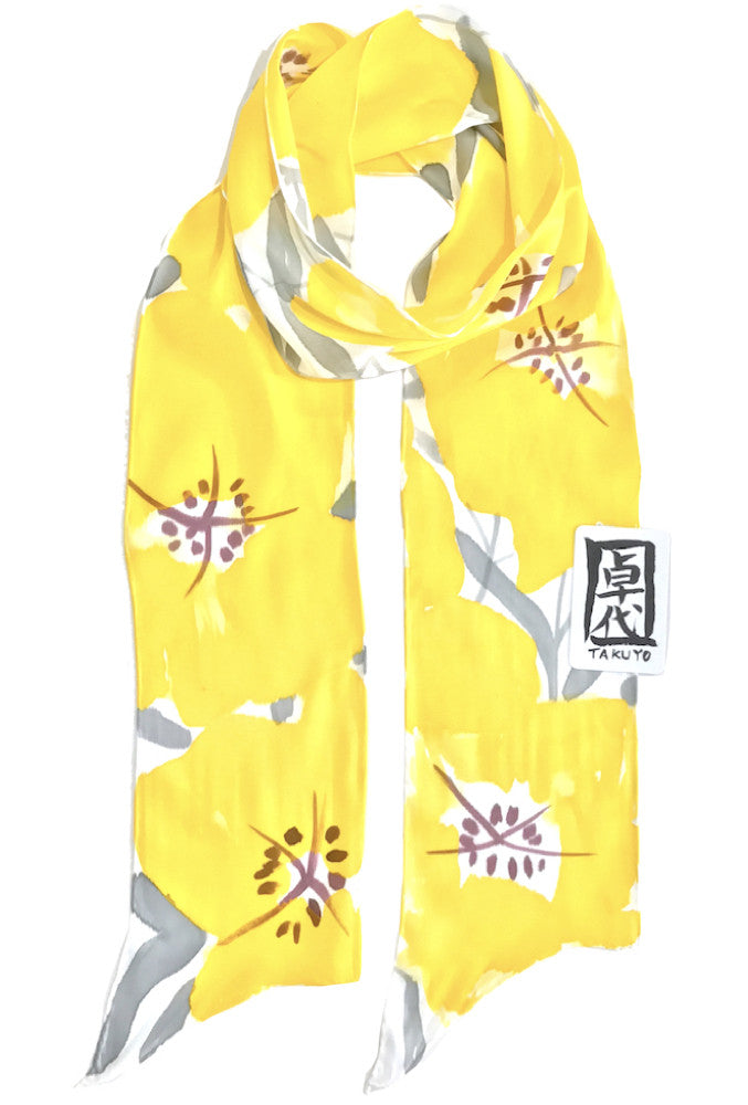 Skinny Scarf, Yellow Evening Primrose
