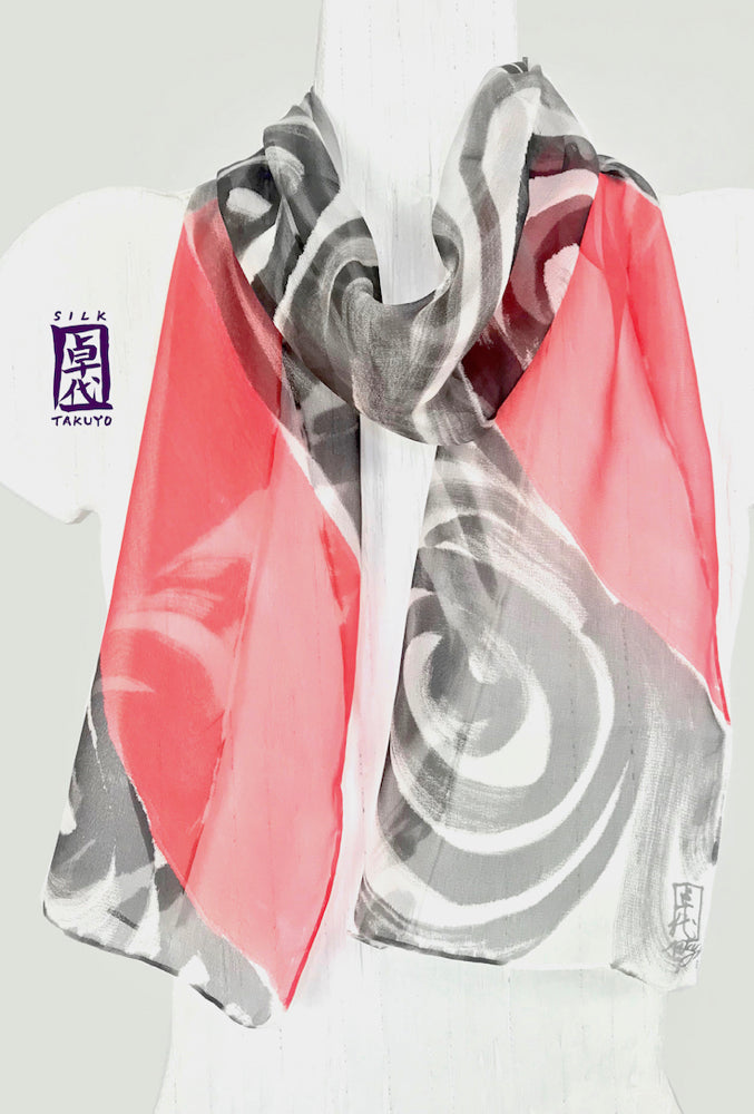 Small Chiffon Scarf, Black and Red Zen Wave