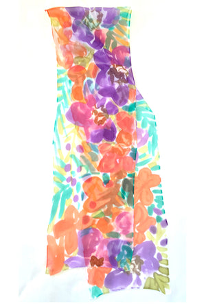 Small Chiffon Scarf, Tropical Floral in Orange and Purple