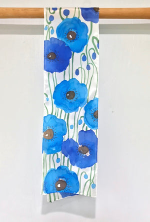 Small Oblong Silk Scarf, Blue Poppy